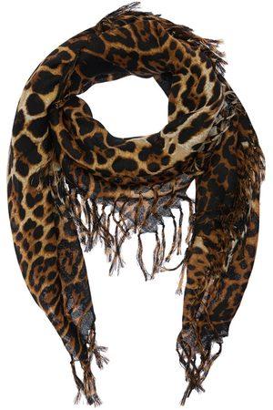 Saint Laurent Mujer Bufandas y Pañuelos - | Mujer Bufanda Cuadrada De Lana Toile Estampado Leopardo /blanc Unique