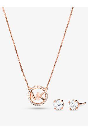 Michael Kors MKSet de collar y pendientes de plata de ley con chapado en oro de 14 K incrustaciones y adorno de logotipo