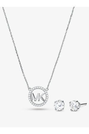 Michael Kors MKSet de collar y pendientes de plata de ley con chapado en oro rosa de 14 K incrustaciones y adorno de logotipo