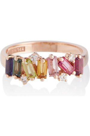 Suzanne Kalan Anillo Rainbow de oro de 14 ct con diamantes y zafiros
