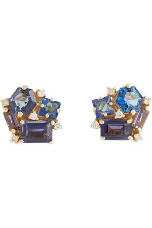 Suzanne Kalan Pendientes Love de oro de 14 ct con diamantes y topacios