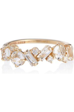 Suzanne Kalan Mujer Anillos - Anillo Amalfi de oro de 14 ct con diamantes y topacio