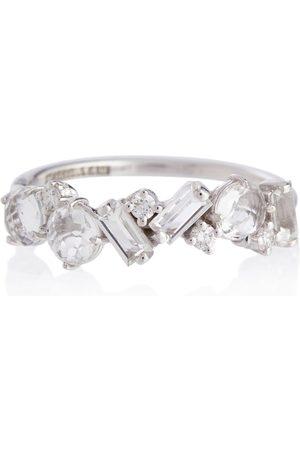 Suzanne Kalan Mujer Anillos - Anillo Amalfi de oro blanco de 14 ct con diamantes y topacio