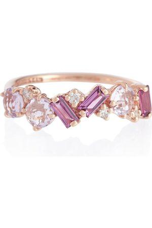 Suzanne Kalan Anillo Amalfi de oro rosa de 14 ct con diamantes y rodolita
