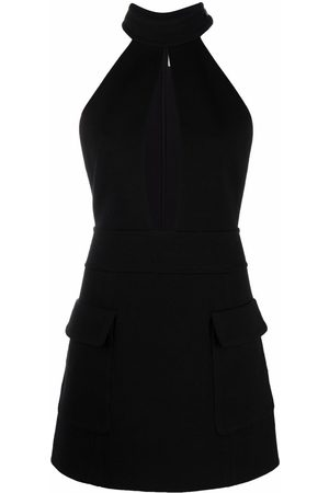 Saint Laurent Vestido corto sin mangas con cuello halter