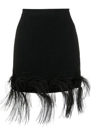 Patou Mujer Minifaldas - Minifalda con ribete de plumas