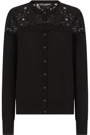 Dolce & Gabbana Top de punto con panel de encaje