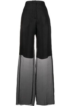 Jil Sander Mujer Pantalones anchos y harén - Pantalones con capa translúcida