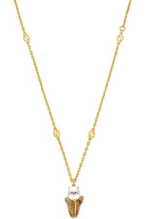 Gucci X Bananya gold-tone crystal-embellished necklace