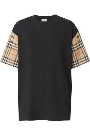 Burberry Mujer Tops - Camiseta con motivo Vintage Check en la manga