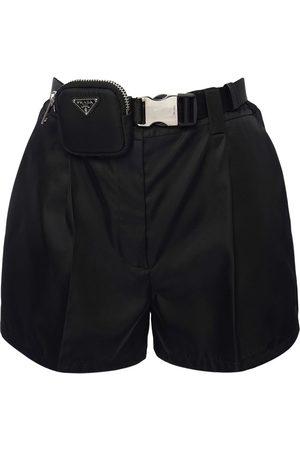 Prada | Mujer Shorts De Gabardina De Nylon Con Pouch 36