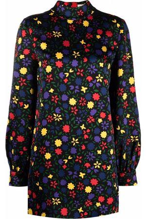 Saint Laurent Vestido corto con estampado floral