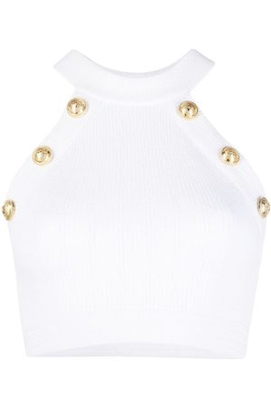 Balmain Top con cuello halter y detalle de botones
