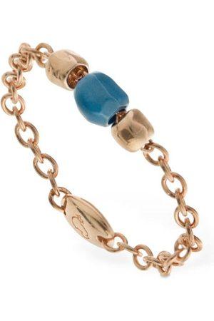 Dodo | Mujer Anilllo Granelli Cerámica Turquesa Y Oro Rosa 9kt /l.blue 50