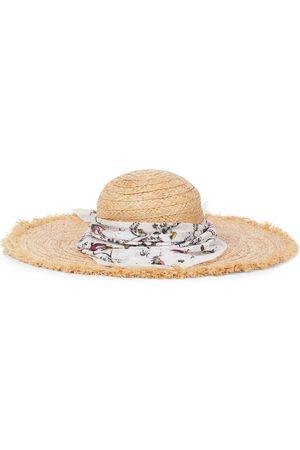 Erdem Sombrero de rafia con bandana