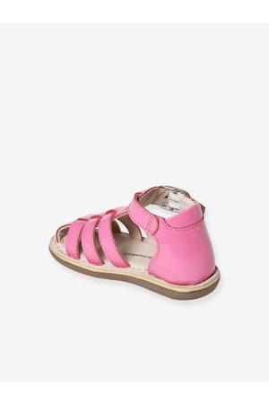 Vertbaudet Sandalias - Sandalias de piel con puntera cerrada, para bebé niña medio liso