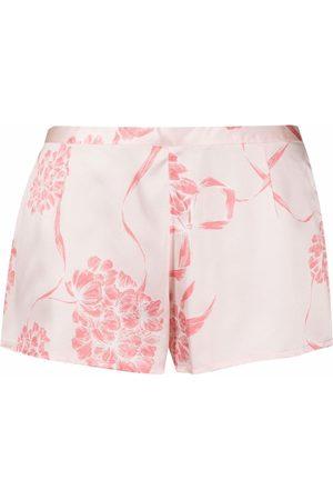 La Perla Mujer Pijamas - Pantalones cortos de seda con motivo floral
