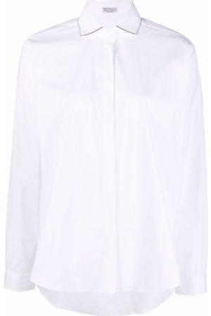 Brunello Cucinelli Camisa con ribete metalizado