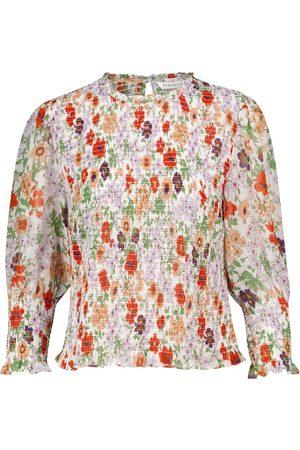 VERONICA BEARD Top floral fruncido