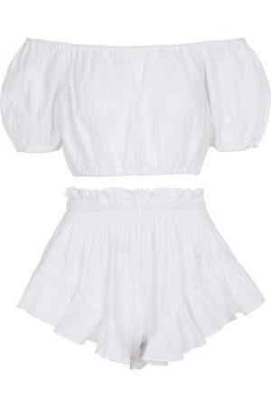 Caroline Constas Exclusivo en Mytheresa - conjunto de crop top y shorts de lino