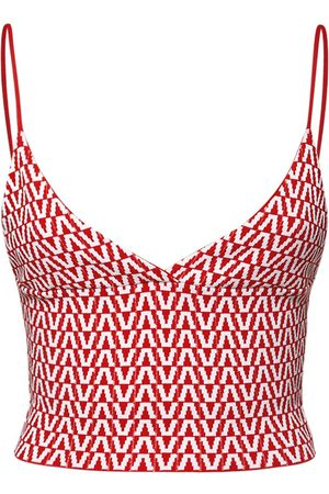 VALENTINO | Mujer Top Cropped De Punto Jacquard Stretch /ivory Xs