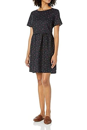 Goodthreads Mujer De manga corta - Washed Linen Blend Short-Sleeve Fit-and-Flare Dress