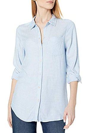 Daily Ritual Amazon Brand - Women's Soft Rayon Slub Twill Long-Sleeve Button-Front Tunic, Blue Crossdye