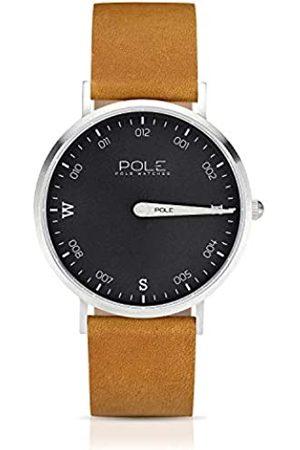 POLE Hombre Relojes - Watches Reloj de Pulsera Analógico Monoaguja de Cuarzo para Hombre Esfera Plomo y Correa de Cuero Mostaza Modelo Compass B-1001PL-MA02