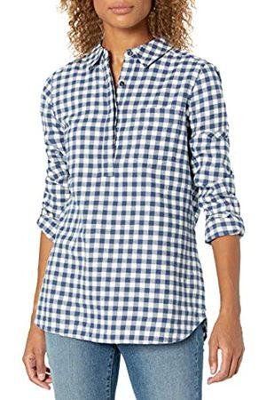 Goodthreads Brushed Flannel Popover Shirt Dress-Shirts, Deep Blue/Off White Mini Buffalo Plaid