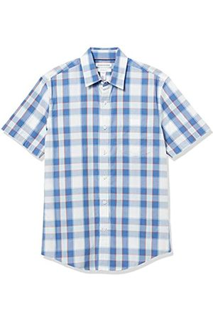 Amazon Slim-Fit Short-Sleeve Casual Poplin Shirt Camisa, Blau/Orange Check