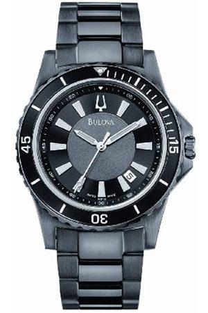 BULOVA Hombre Relojes - 65B133 - Reloj analógico de caballero de cuarzo con correa de acero inoxidable negra - sumergible a 100 metros
