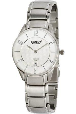 Akzent 321122529001 - Reloj analógico de caballero de cuarzo con correa de titanio - sumergible a 50 metros