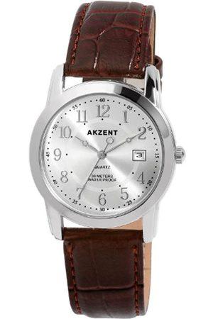 Akzent SS7722500003 - Reloj analógico de caballero de cuarzo con correa de piel - sumergible a 30 metros
