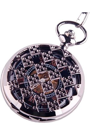 ShoppeWatch Reloj de Bolsillo Steampunk Esqueleto mecánico Movimiento de la Mano Viento números Romanos Cosplay PW-71