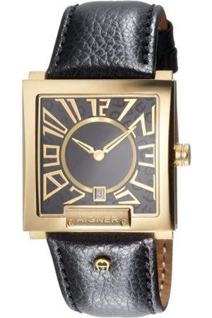 Aigner Hombre Relojes - A27134 - Reloj analógico de caballero de cuarzo con correa de piel negra