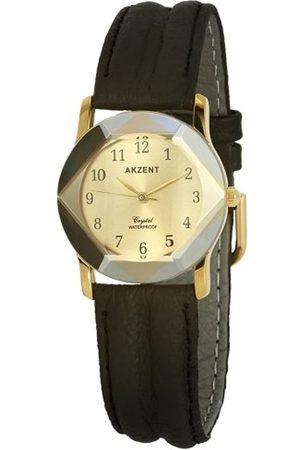 Akzent SS7904000013 - Reloj analógico de mujer de cuarzo con correa de piel negra - sumergible a 30 metros