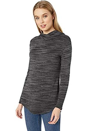 Daily Ritual Mujer Manga larga - Marca Amazon - Supersoft Terry Long-Sleeve Hooded Pullover camisa, Charcoal Grey Spacedye