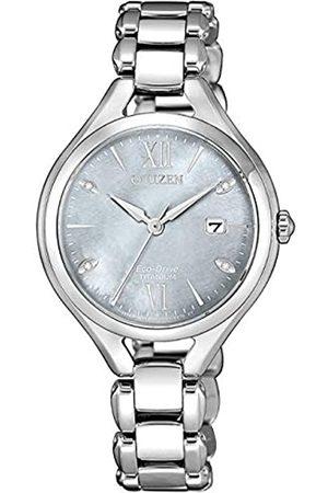 Citizen Reloj Analógico para Mujer de Eco-Drive con Correa en Super Titanio EW2560-86X