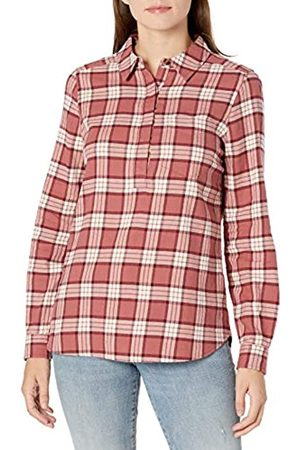 Goodthreads Mujer Casual - Brushed Flannel Popover Shirt Dress-Shirts, Dark Rose/ Plaid
