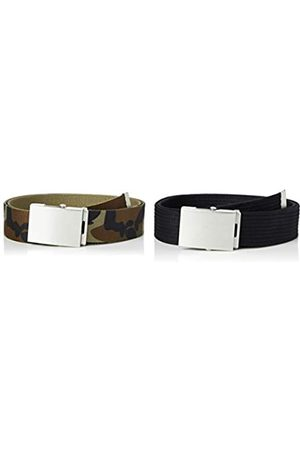 FIND Marca Amazon - Cinturón de Tela Hombre, Pack de 2, ( /Camo), S
