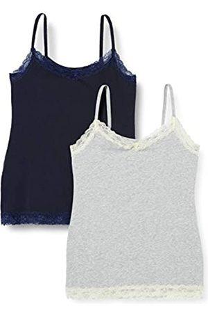 IRIS & LILLY Marca Amazon - Camiseta de Tirantes con Encaje Body Natural para Mujer, Pack de 2, Multicolor (Night Sky/Melange/Mixed), XS