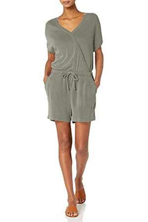 Daily Ritual Sandwashed Modal Blend Short-Sleeve Overlap Romper Rompers-Apparel
