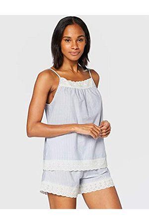 IRIS & LILLY Pijama de Satén Mujer, (rayas azules)., XL
