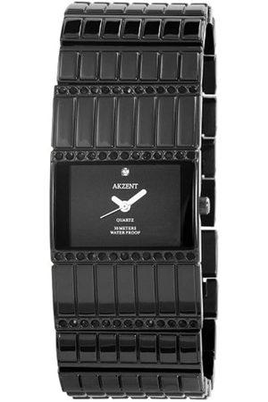 Akzent SS8171000003 - Reloj analógico de mujer de cuarzo con correa de aleación negra - sumergible a 30 metros