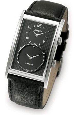 Roots Sportly - Reloj analógico de caballero de cuarzo con correa de acero inoxidable negra