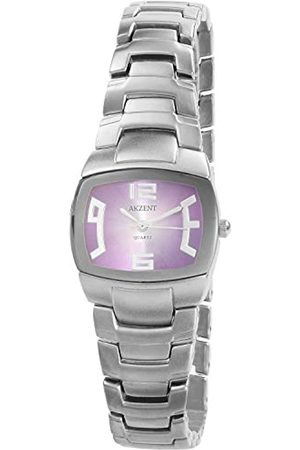 Akzent SS7123800084 - Reloj analógico de mujer de cuarzo con correa de aleación plateada - sumergible a 30 metros