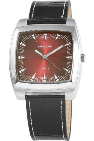 Excellanc 292025000190 - Reloj analógico de caballero de cuarzo con correa de piel negra
