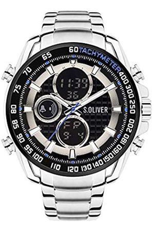 s.Oliver Hombre Relojes - Reloj Analógico-Digital para Hombre de Cuarzo con Correa en Acero Inoxidable SO-4246-MD