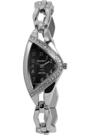 Akzent SS7121000070 - Reloj analógico de mujer de cuarzo con correa de aleación plateada - sumergible a 30 metros