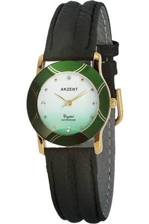 Akzent SS7906500008 - Reloj analógico de mujer de cuarzo con correa de piel negra